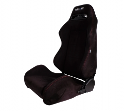 NRG Innovations - NRG Innovations Type R Racing Seats (Suede) - Black w/ Red Stitch - SOLD AS A PAIR