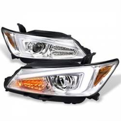 Spec D - Spec D Projector Headlights w/ LED DRL Light Bar (Chrome): Scion tC 2011 - 2013 (tC2)