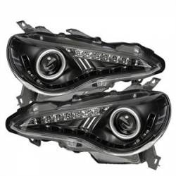 SCION LIGHTING PARTS - Scion Headlights - Spyder - Spyder LED Halo Projector Headlights (Black): Scion FR-S 2013 - 2016