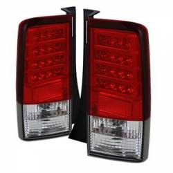SCION LIGHTING PARTS - Scion Tail Lights - Spyder - Spyder Red / Clear LED Tail Lights (Version 2): Scion xB 2004 - 2006