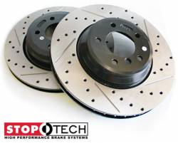 Scion FRS Brake Parts - Scion FRS Brake Rotors - Stoptech - Stoptech Drilled & Slotted Rear Brake Rotors: Scion FR-S 2013-2016; Subaru BRZ 2013-2018