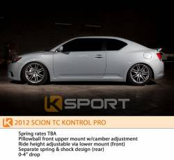 SCION SUSPENSION PARTS - Scion Coilovers - KSport - K Sport Kontrol Pro Damper Coilovers: Scion tC 2011 - 2016 (tC2)