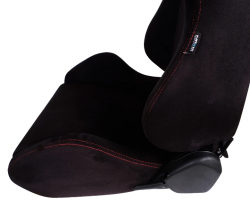 NRG Innovations - NRG Innovations Type R Racing Seats (Suede) - Black w/ Red Stitch - SOLD AS A PAIR - Image 3